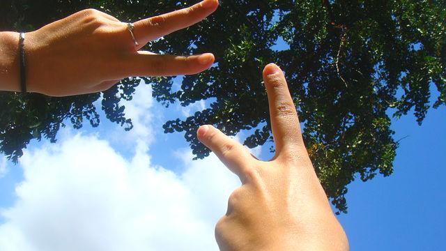 libre, ciel, mains, victoire