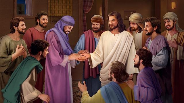 Les disciples ont touché les marques de clous sur les mains du Seigneur Jésus.