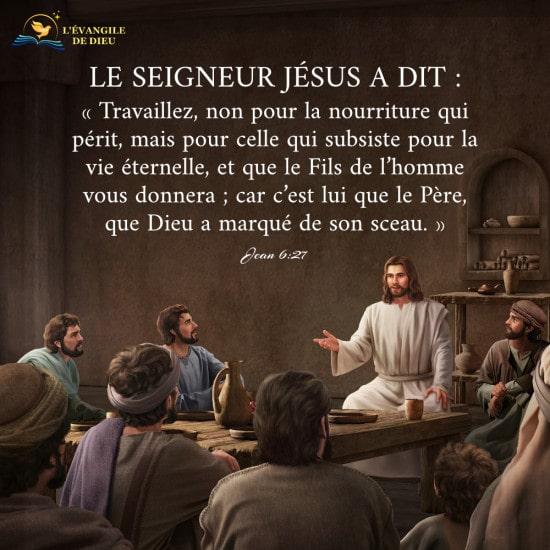 Évangile du jour — Le Christ donne la nourriture éternelle à l'homme