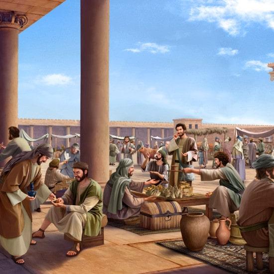 le temple est devenu un lieu de commerce,